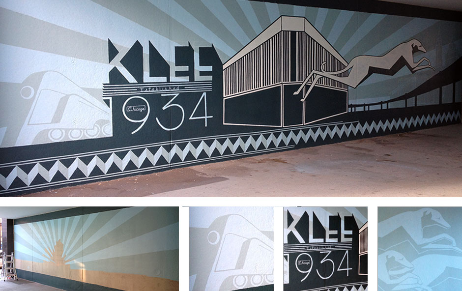 Deco Hounds Mural at Klee Building Detail