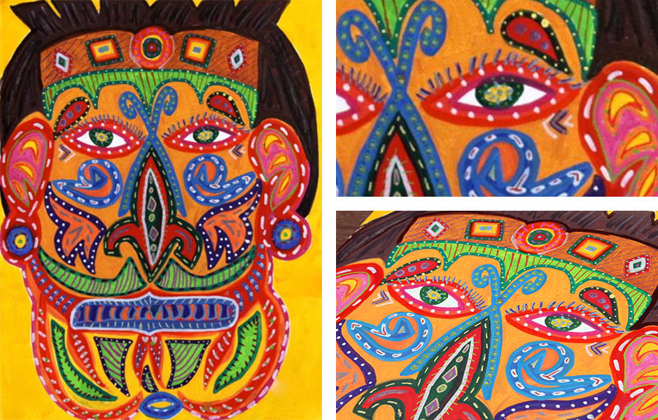 Tony Passero Painting Pablo Mask Detail