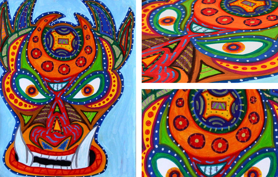 Tony Passero Painting Sand Yeti Mask Detail