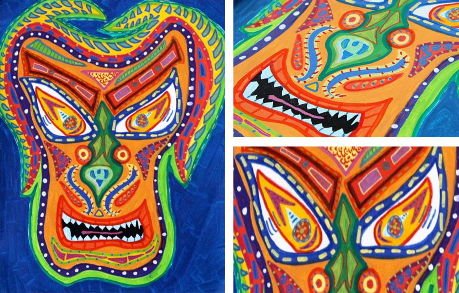 Tony Passero Painting Serpentine Mask Detail