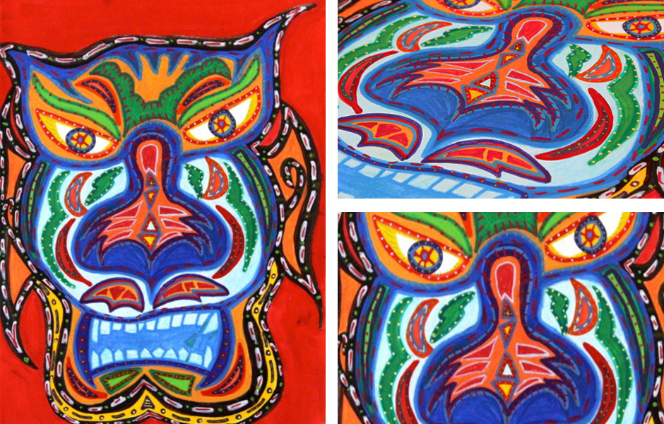 Tony Passero Painting Tigre Mask Detail