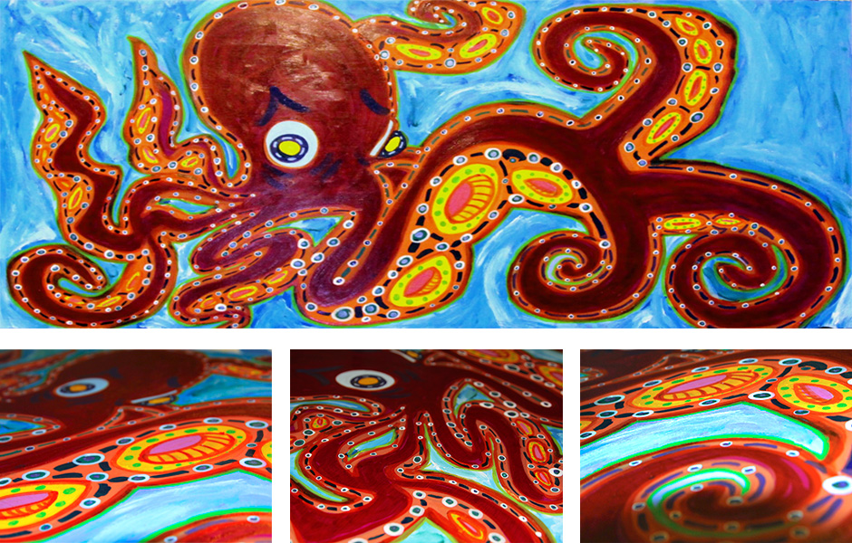 Tony Passero Painting Velvet Octopus Detail