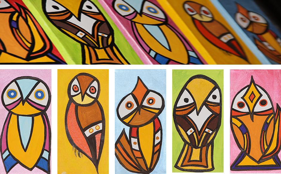 Tony Passero Painting Geo Birds Detail
