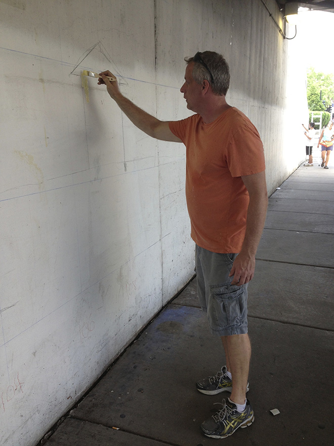 Tony Passero Positive Babel Mural on Irving Park Road Day 1 Artist Tony Passero Laying Down the First Stripe of Color