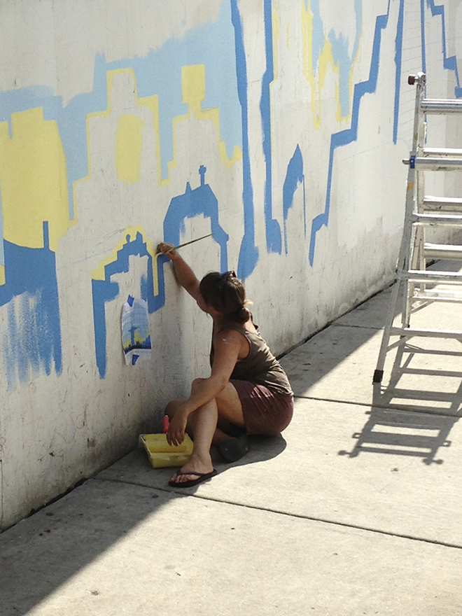 Tony Passero Positive Babel Mural on Irving Park Road in Chicago Day 1 Franzie Working in Details