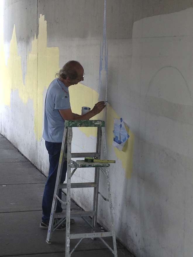 Tony Passero Positive Babel Mural on Irving Park Road in Chicago Day 1 Jerry Working in a Landmark