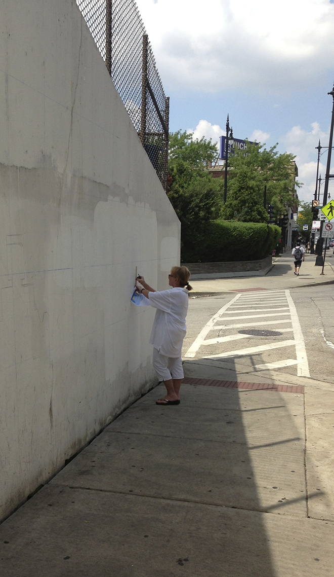 Tony Passero Positive Babel Mural on Irving Park Road in Chicago Day 1 Kathy Measuring Out the Grid