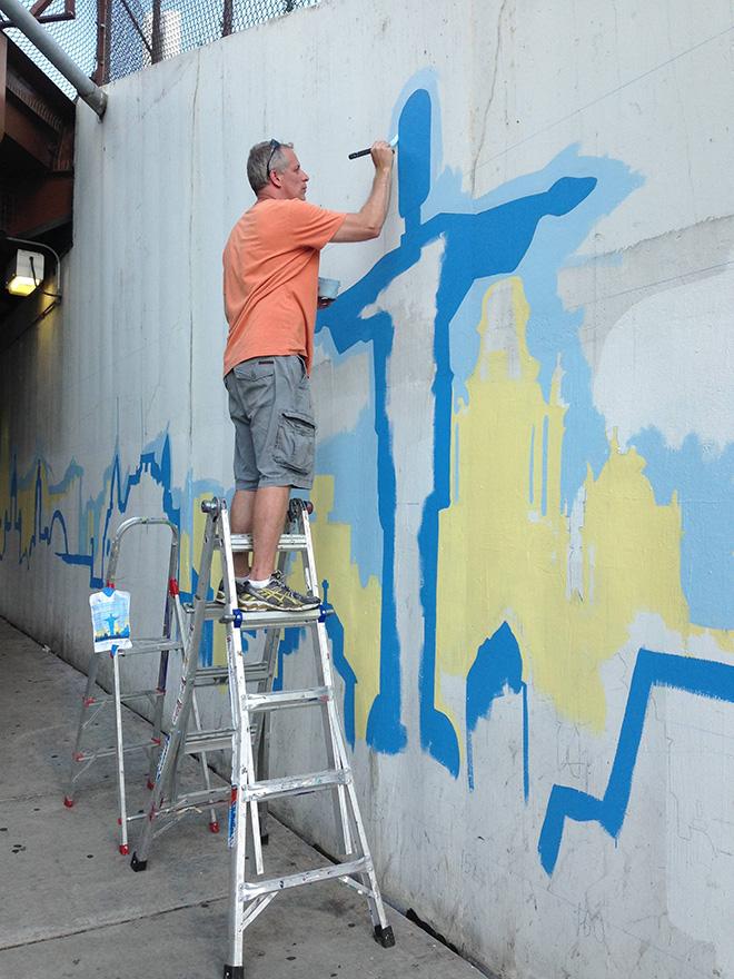 Tony Passero Positive Babel Mural on Irving Park Road in Chicago Day 1 Artist Tony Passero  Painting in a Famous Landmark of Brazil