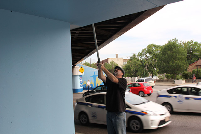 Tony Passero Positive Babel Mural on Irving Park Road in Chicago Day 10 Ed Rolling in the Base Color on the Pillars