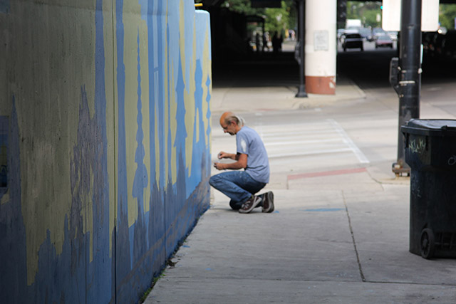 Tony Passero Positive Babel Mural on Irving Park Road in Chicago Day 10 Jerry Working at the Far End of the Wall