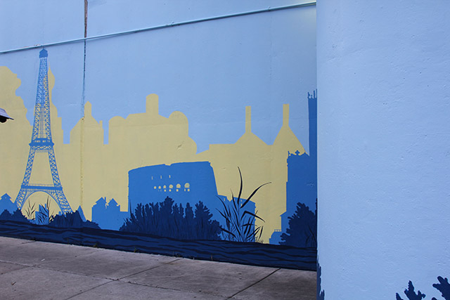 Tony Passero Positive Babel Mural on Irving Park Road in Chicago Day 11 Laying in the Final Water Layer and Reeds