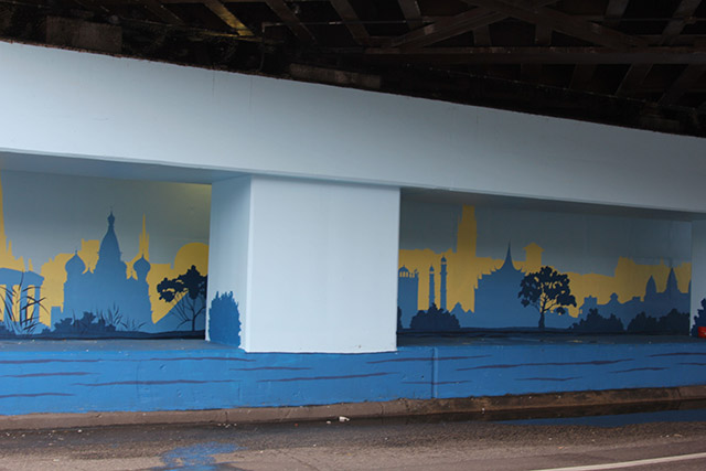 Tony Passero Positive Babel Mural on Irving Park Road in Chicago Day 11 View from a Car at the Light at the Corner of Irving Park Road and Keeler Avenue