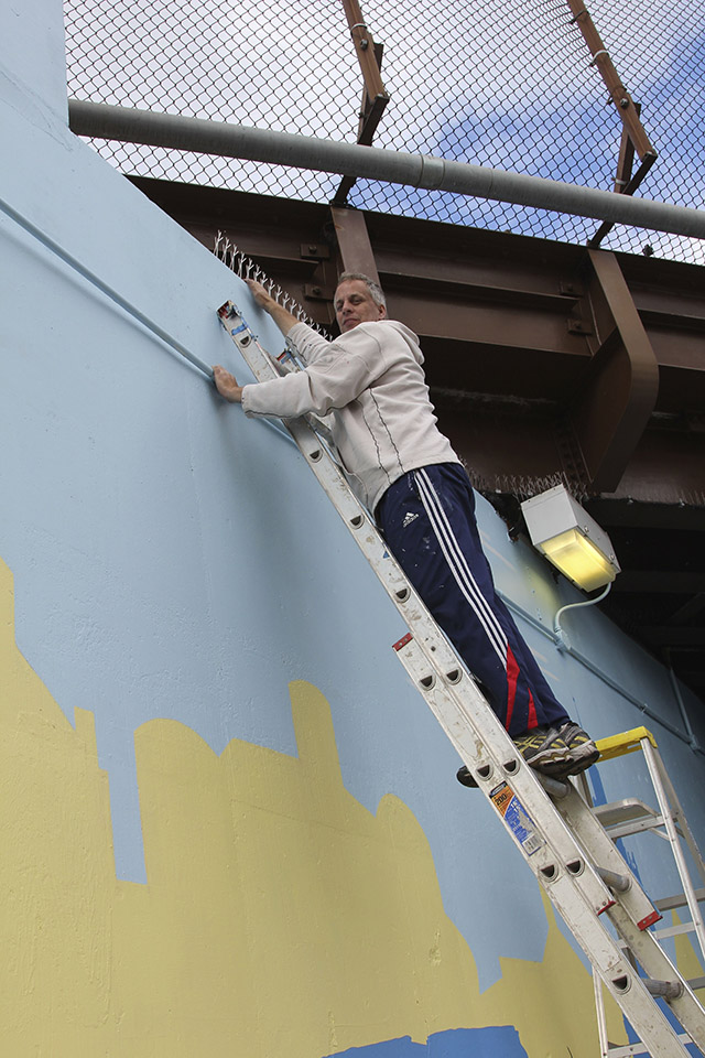 Tony Passero Positive Babel Mural on Irving Park Road in Chicago Day 12 Tony working on his fear of heights