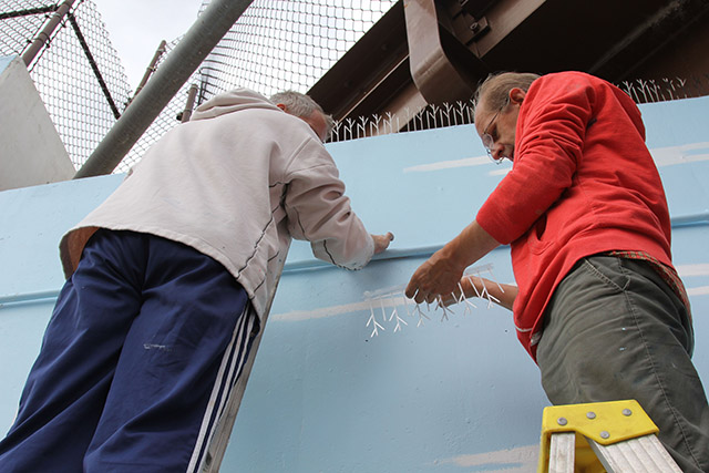 Tony Passero Positive Babel Mural on Irving Park Road in Chicago Day 12 Tony and Jerry installing Pigeon Spikes