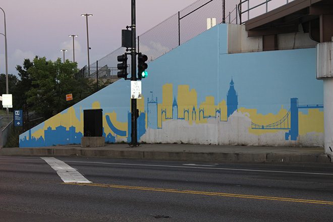 Tony Passero Positive Babel Mural on Irving Park Road in Chicago Day 2 Progress Viewed From Across Irving Park Road