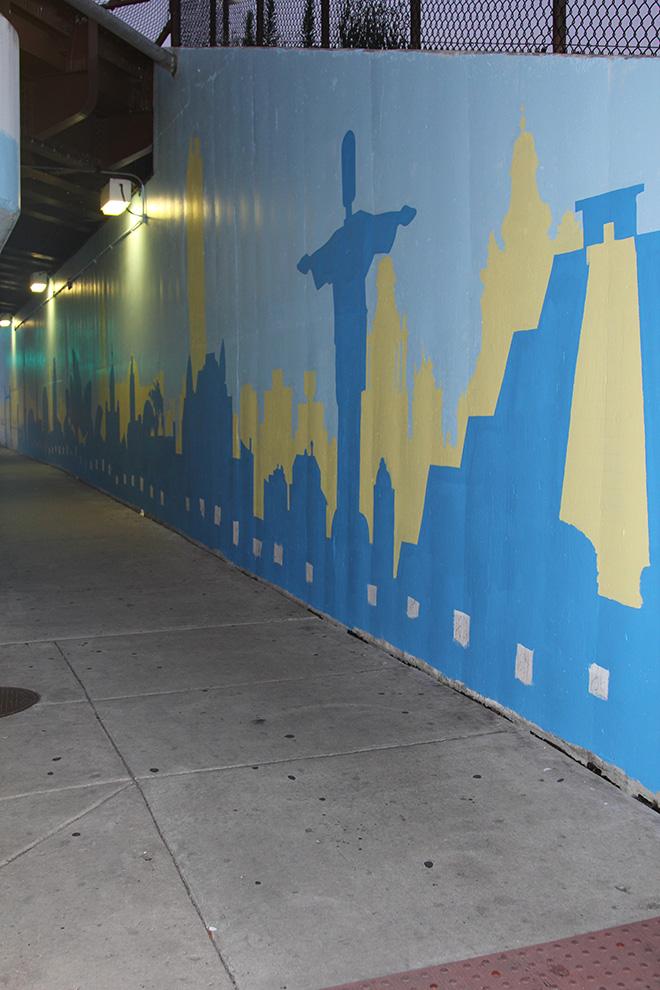 Tony Passero Positive Babel Mural on Irving Park Road Day 2 Working in Some Key Landmarks