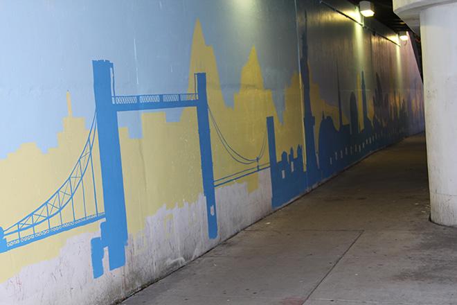 Tony Passero Positive Babel Mural on Irving Park Road in Chicago Day 2 Tower Bridge in Development