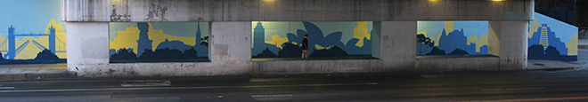 Tony Passero Positive Babel Mural on Irving Park Road in Chicago Day 4 Pano of South Wall of Mural at End of day 4