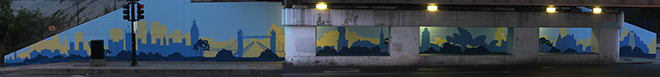 Tony Passero Positive Babel Mural on Irving Park Road in Chicago Day 4 View of the Emerging Mural from Across Irving Park Road