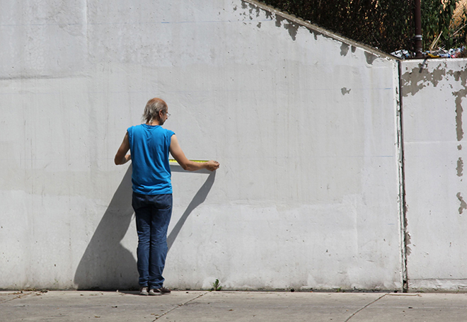 Tony Passero Positive Babel Mural on Irving Park Road in Chicago Day 6 Jerry Measuring Out a Blank Canvas