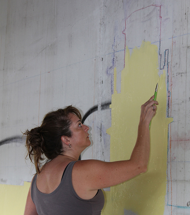Tony Passero Positive Babel Mural on Irving Park Road in Chicago Day 6 Shannon Working in the First Landmark Layer