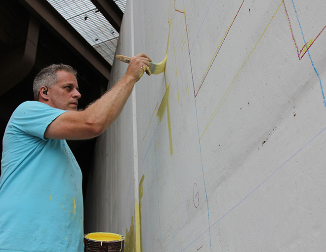 Tony Passero Positive Babel Mural on Irving Park Road in Chicago Day 6 Artist Tony Passero Painting in the First Landmark Layer