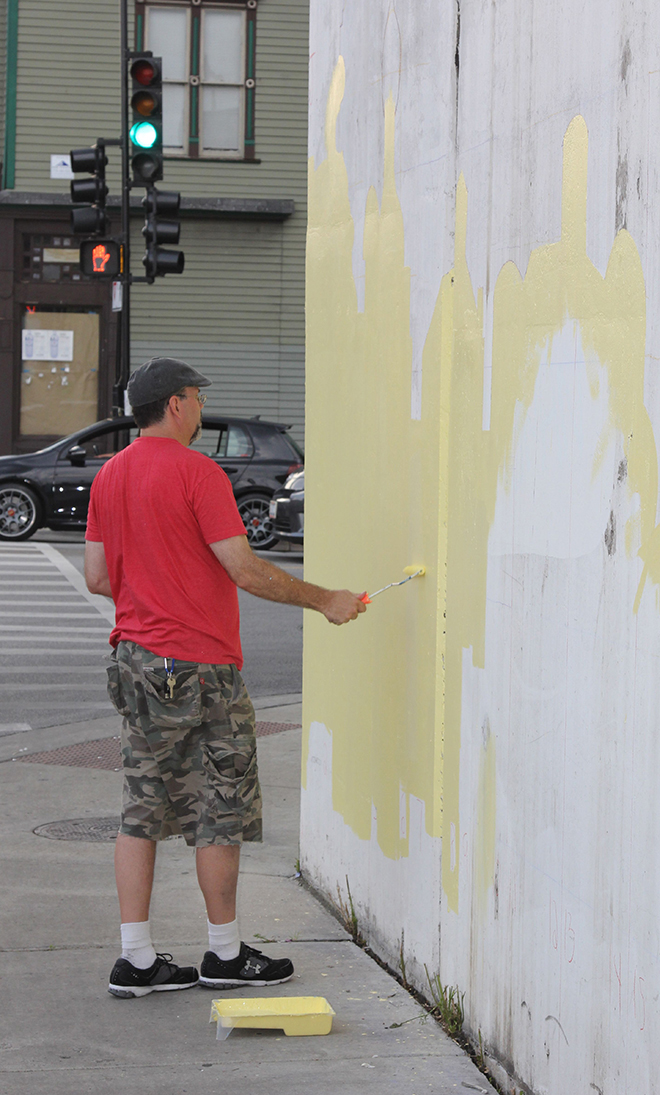 Tony Passero Positive Babel Mural on Irving Park Road in Chicago Day 6 Ed Rolling in Color Blocking