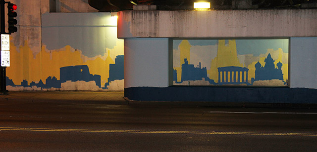 Tony Passero Positive Babel Mural on Irving Park Road in Chicago Day 7 Color Tests for Outside Columns