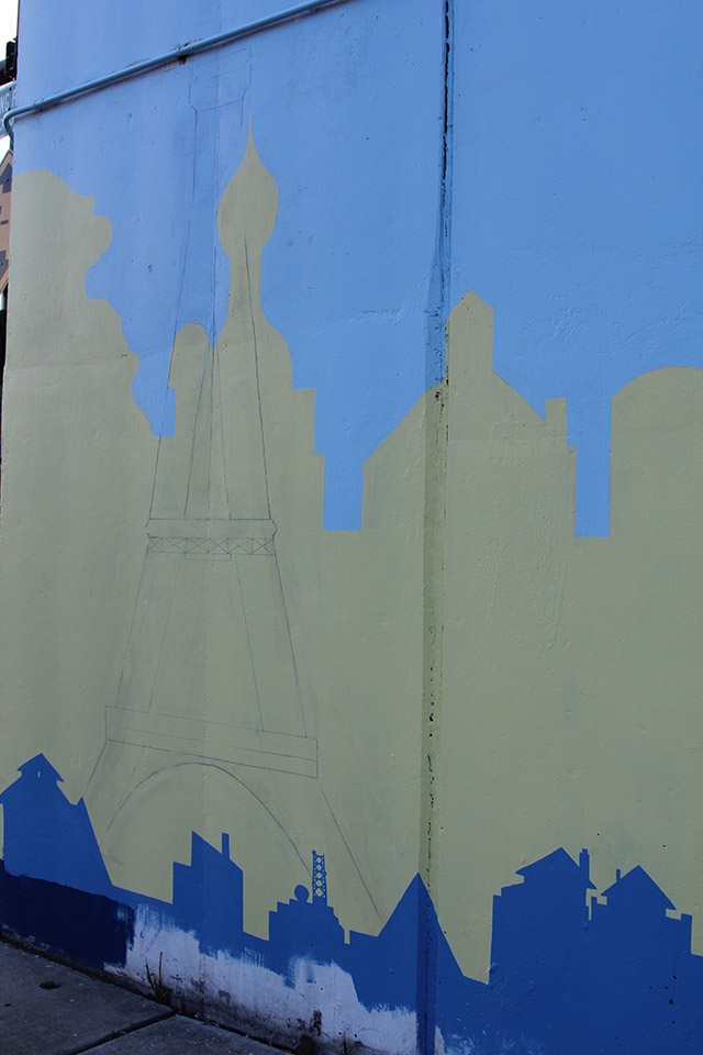 Tony Passero Positive Babel Mural on Irving Park Road in Chicago Day 8 Roughing in a Famous French Icon