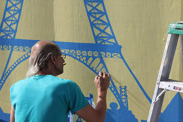 Tony Passero Positive Babel Mural on Irving Park Road in Chicago Day 9 Jerry Working in Detail
