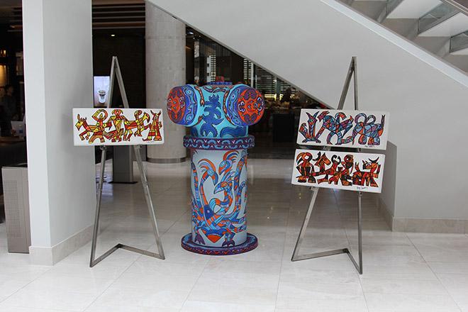 Tony Passero Hydra Hydrant and M(ani)fest Mural Concept Art in Hyatt Regency Lobby