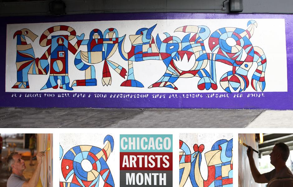 Tony Passero Affirmation Panel 9 of the M(ani)Fest Mural on Pulaski Avenue Chicago Detail