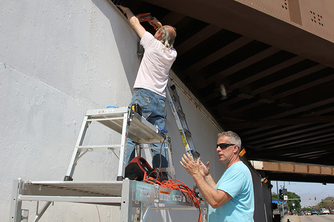 Tony Passero CrossCuts Mural on Addison Avenue Chicago Day 1 Jerry Works in the Drip Edge while I Talk About a Pigeon I Caught Once that was this Big