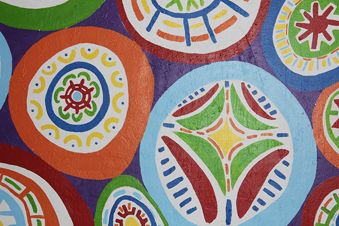 Tony Passero Whoot Owl Mural on Belmont and Kedzie in Chicago, IL Day 10 Close up of the some of the circle patterns
