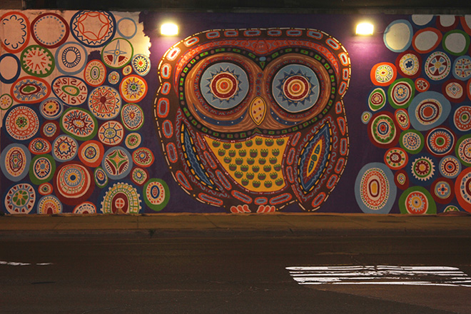Tony Passero Whoot Owl Mural on Belmont and Kedzie in Chicago, IL Day 10 End of day view from across Belmont Avenue