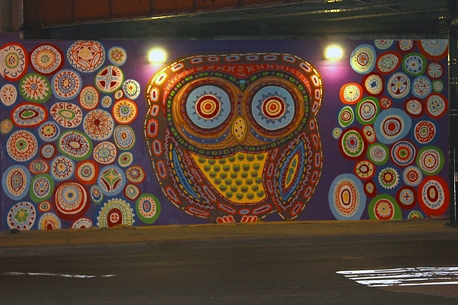 Tony Passero Whoot Owl Mural on Belmont and Kedzie in Chicago, IL Day 11 End of day view from across Belmont Avenue
