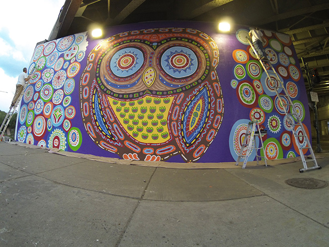 Tony Passero Whoot Owl Mural on Belmont and Kedzie in Chicago, IL Day 11 Filling in the last of the circles