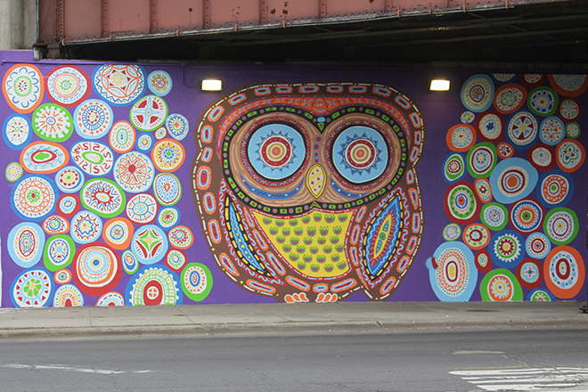 Tony Passero Whoot Owl Mural on Belmont and Kedzie in Chicago, IL Day 12 End of day view from across Belmont Avenue