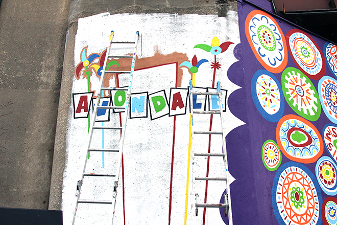 Tony Passero Whoot Owl Mural on Belmont and Kedzie in Chicago, IL Day 13 Roughing in the Avondale sign marker