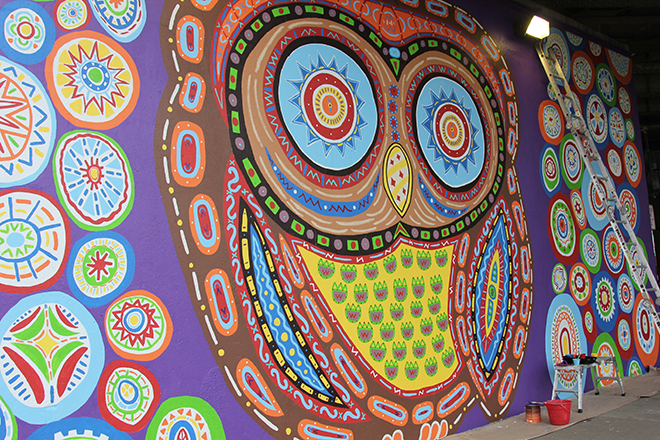 Tony Passero Whoot Owl Mural on Belmont and Kedzie in Chicago, IL Day 12 Some last minute touch up