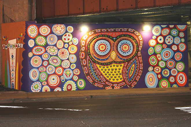Tony Passero Whoot Owl Mural on Belmont and Kedzie in Chicago, IL Day 13 End of day view with new sign marker wrap