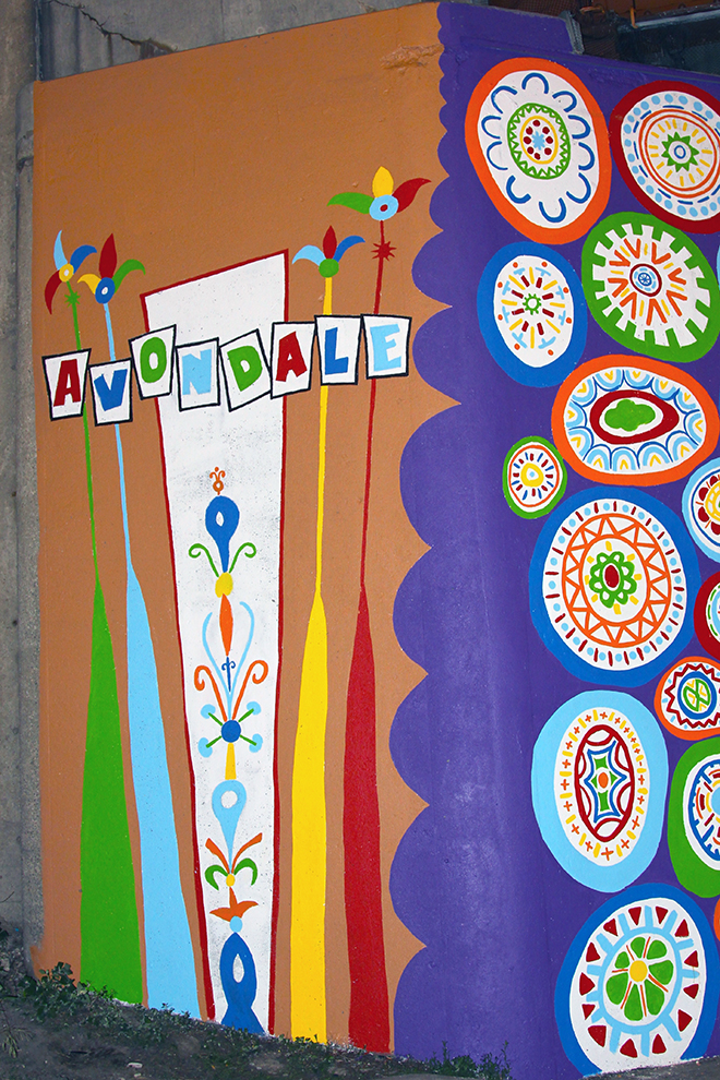 Tony Passero Whoot Owl Mural on Belmont and Kedzie in Chicago, IL Day 13 New Avondale sign on wrap