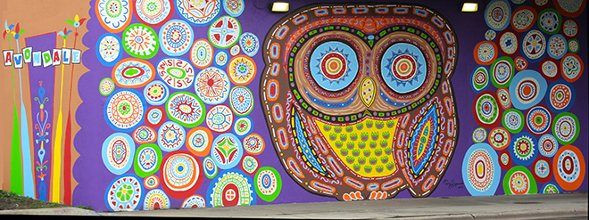 Tony Passero Whoot Owl Mural on Belmont and Kedzie in Chicago, IL Day 14 Final