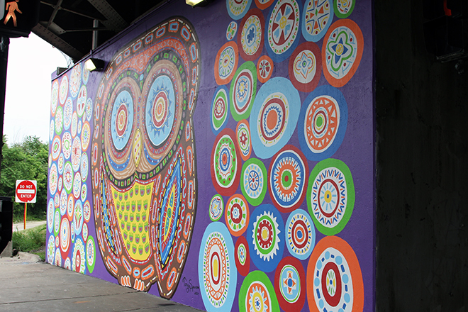 Tony Passero Whoot Owl Mural on Belmont and Kedzie in Chicago, IL Day 14 Tony Passero Whoot Mural Sidewalk view from right