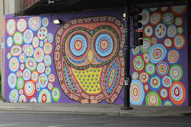 Tony Passero Whoot Owl Mural on Belmont and Kedzie in Chicago, IL Day 14 Tony Passero Whoot Mural view from Kedzie Avenue