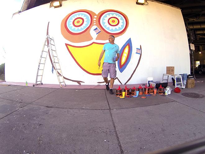 Tony Passero Whoot Owl Mural on Belmont and Kedzie in Chicago, IL Day 4 Artist Tony Passero Walking