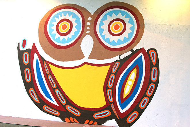 Tony Passero Whoot Owl Mural on Belmont and Kedzie in Chicago, IL Day 4 End of day sidewalk view