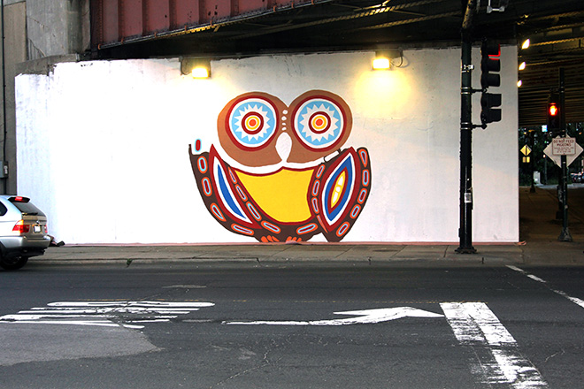 Tony Passero Whoot Owl Mural on Belmont and Kedzie in Chicago, IL Day 4 End of day view from across Belmont Avenue