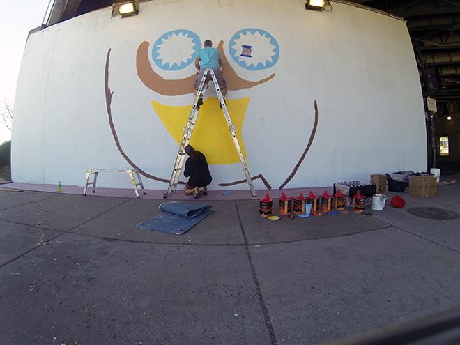 Tony Passero Whoot Owl Mural on Belmont and Kedzie in Chicago, IL Day 4 Artist Tony Passero Painting