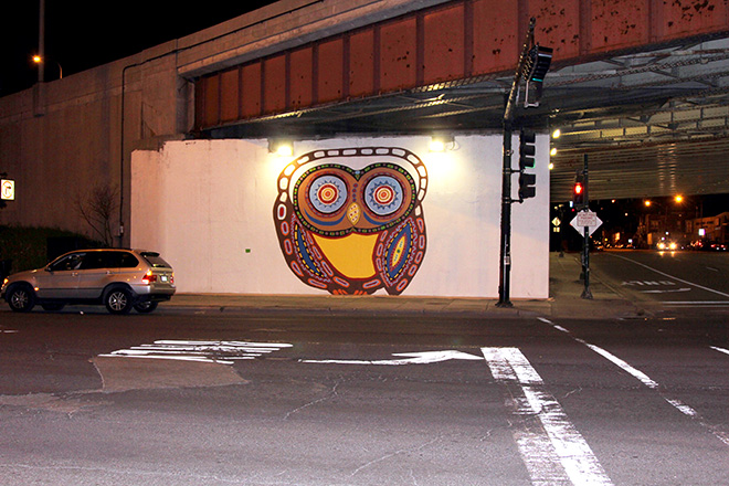 Tony Passero Whoot Owl Mural on Belmont and Kedzie in Chicago, IL Day 5 End of Day Belmont View